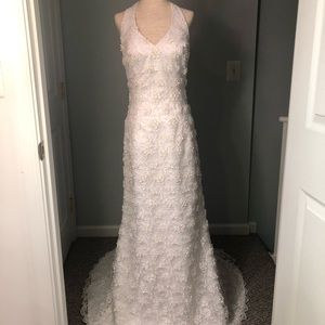 MichaelAngelo Floral Beaded Wedding Dress Size 14